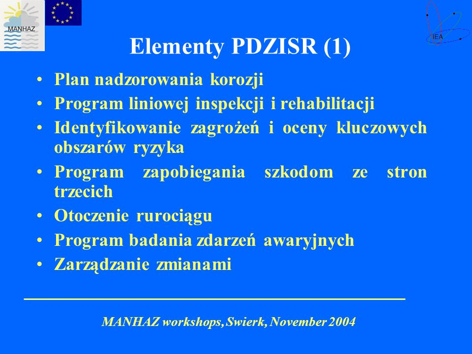 Elementy PDZISR (1) Plan nadzorowania korozji