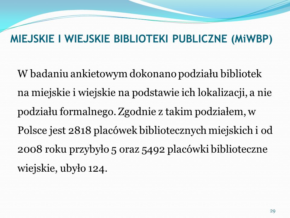 MIEJSKIE I WIEJSKIE BIBLIOTEKI PUBLICZNE (MiWBP)