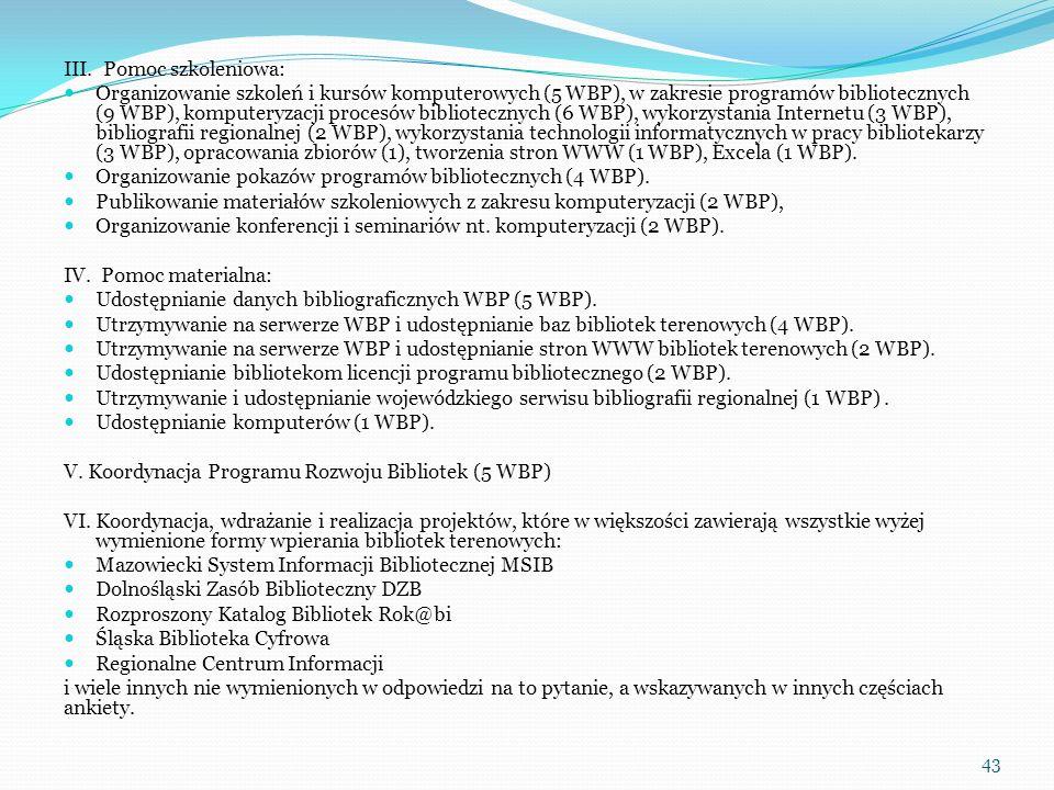 III. Pomoc szkoleniowa: