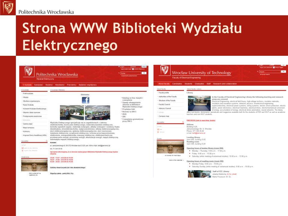 Strona WWW Biblioteki Wydziału Elektrycznego