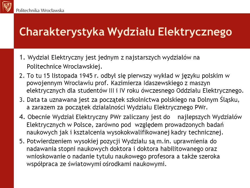 Charakterystyka Wydziału Elektrycznego