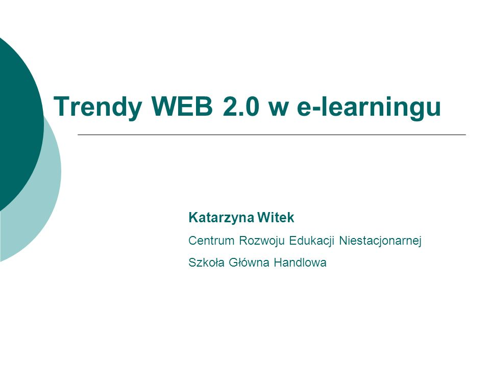 Trendy WEB 2.0 w e-learningu