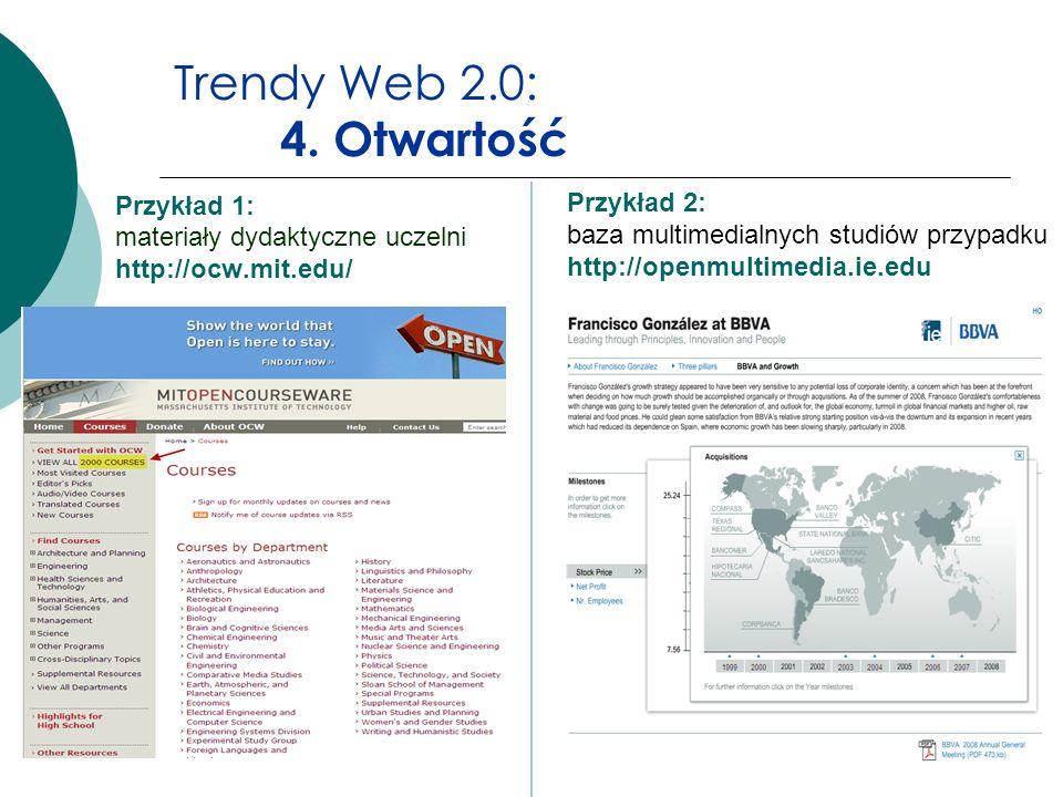 Trendy Web 2.0: 4. Otwartość Przykład 2: baza multimedialnych studiów przypadku http://openmultimedia.ie.edu.