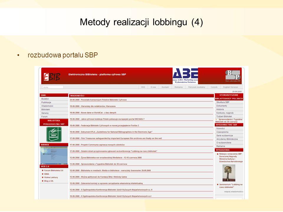Metody realizacji lobbingu (4)