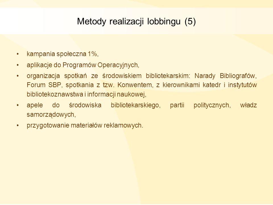 Metody realizacji lobbingu (5)