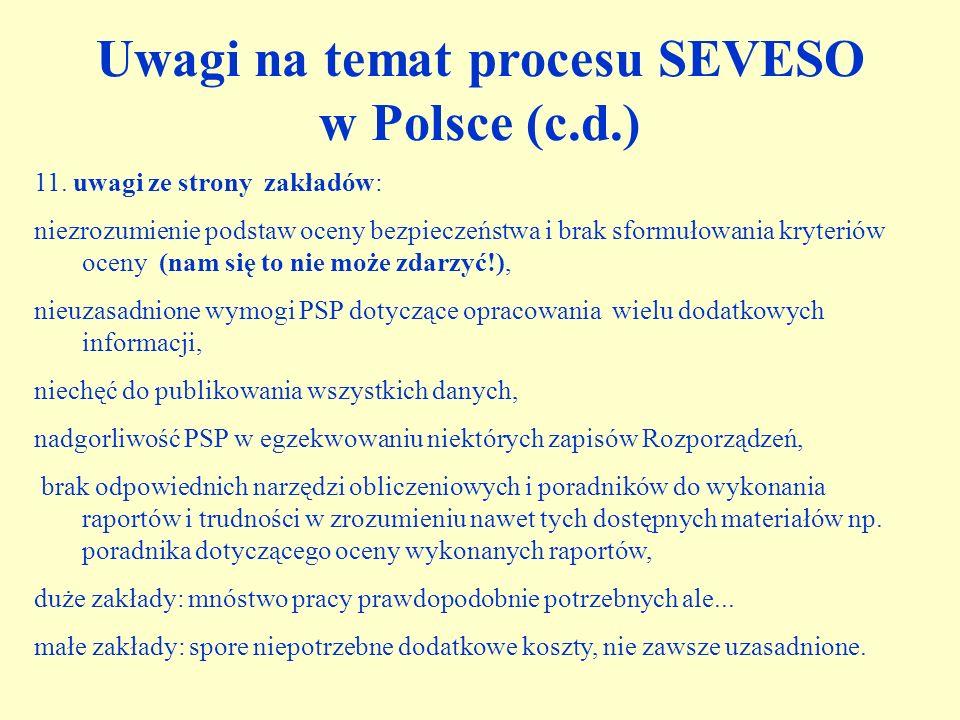 Uwagi na temat procesu SEVESO w Polsce (c.d.)