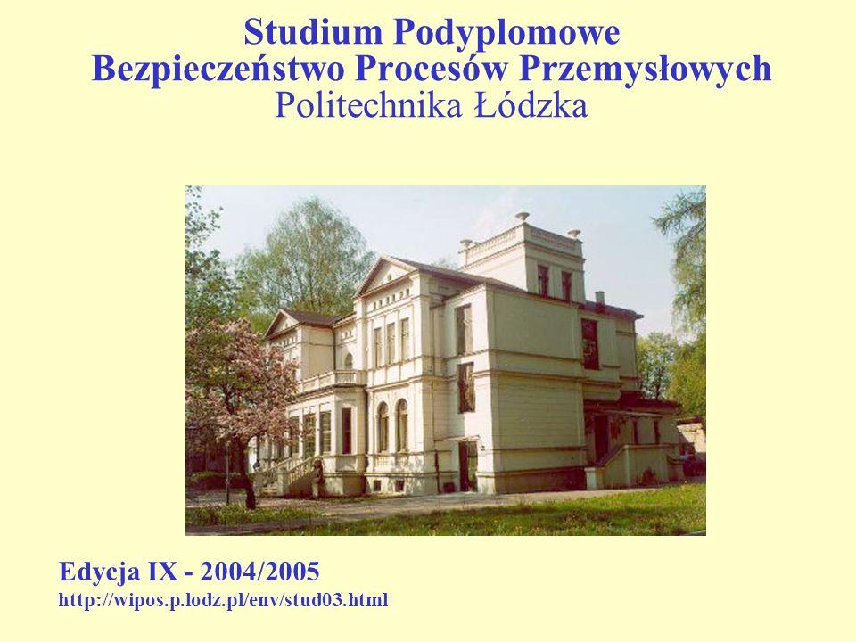 Studium Podyplomowe Bezpieczeństwo Procesów Przemysłowych Politechnika Łódzka