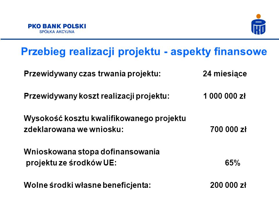 Przebieg realizacji projektu - aspekty finansowe