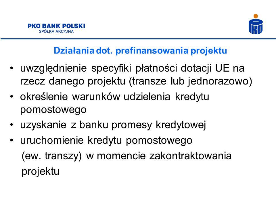 Działania dot. prefinansowania projektu