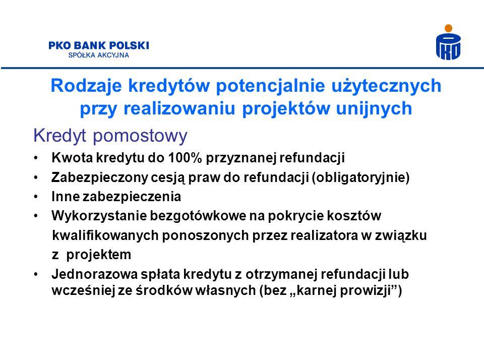 Rodzaje kredytów potencjalnie użytecznych przy realizowaniu projektów unijnych