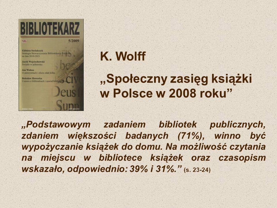 """""""Społeczny zasięg książki w Polsce w 2008 roku"""