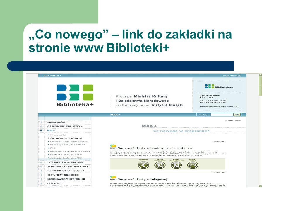 """""""Co nowego – link do zakładki na stronie www Biblioteki+"""