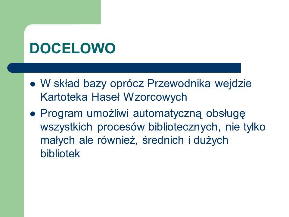 DOCELOWO W skład bazy oprócz Przewodnika wejdzie Kartoteka Haseł Wzorcowych.