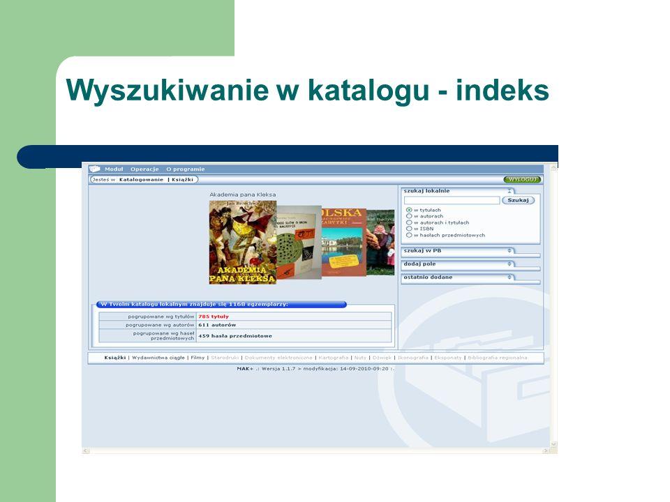 Wyszukiwanie w katalogu - indeks