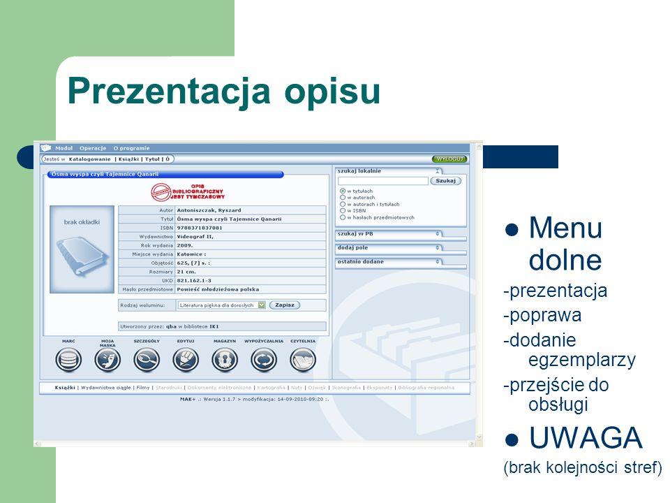 Prezentacja opisu Menu dolne UWAGA -prezentacja -poprawa