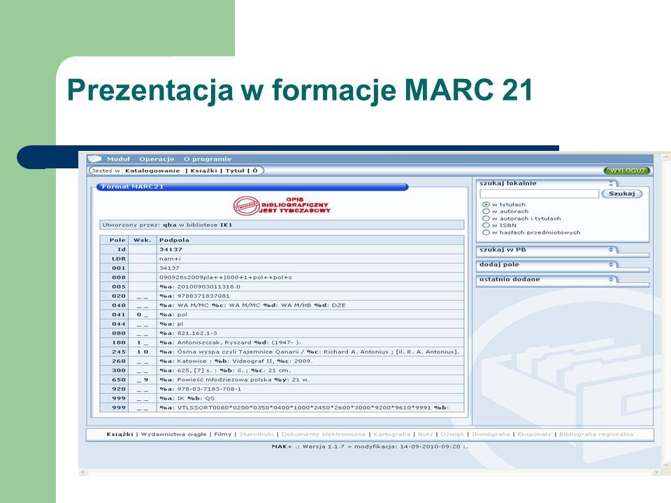 Prezentacja w formacje MARC 21