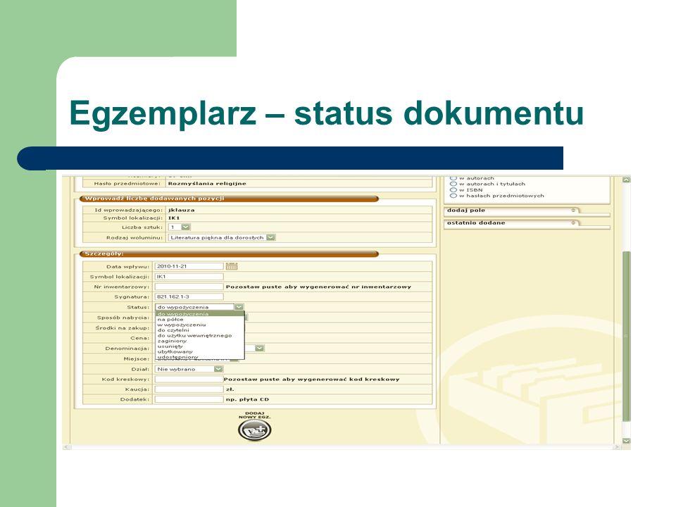 Egzemplarz – status dokumentu