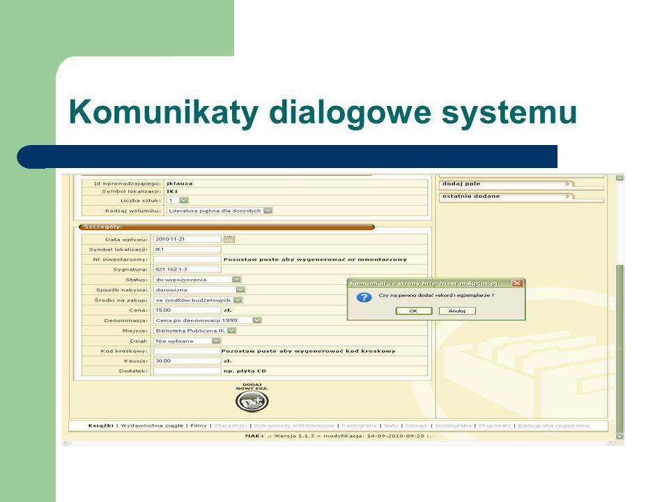 Komunikaty dialogowe systemu