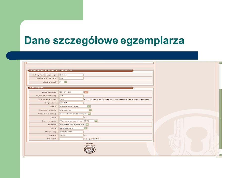 Dane szczegółowe egzemplarza
