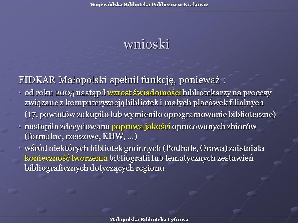 wnioski FIDKAR Małopolski spełnił funkcję, ponieważ :