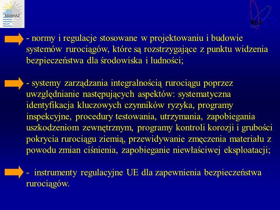 - normy i regulacje stosowane w projektowaniu i budowie systemów rurociągów, które są rozstrzygające z punktu widzenia bezpieczeństwa dla środowiska i ludności;