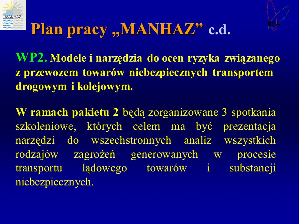 """Plan pracy """"MANHAZ c.d. WP2. Modele i narzędzia do ocen ryzyka związanego z przewozem towarów niebezpiecznych transportem drogowym i kolejowym."""