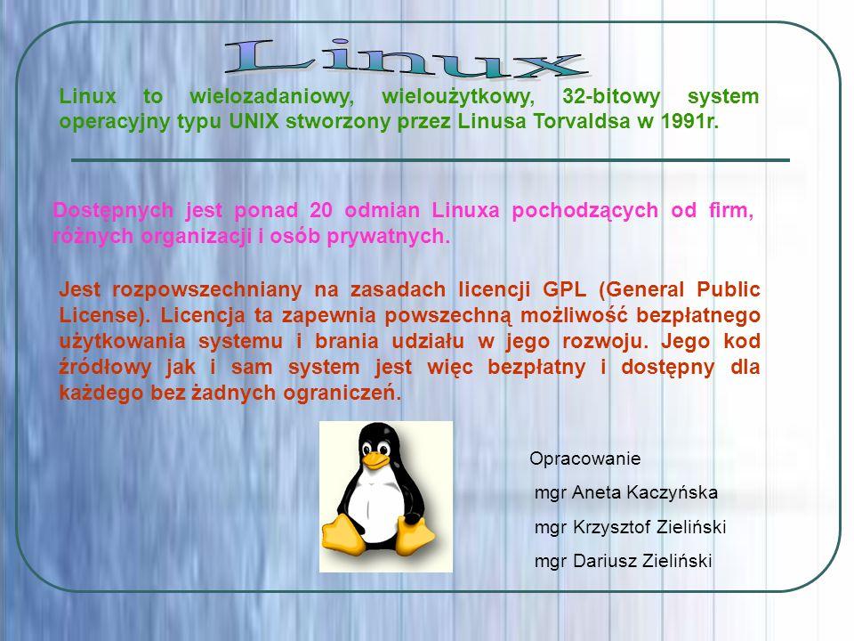 LinuxLinux to wielozadaniowy, wieloużytkowy, 32-bitowy system operacyjny typu UNIX stworzony przez Linusa Torvaldsa w 1991r.