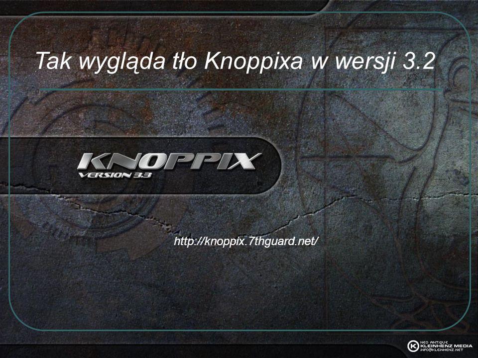 Tak wygląda tło Knoppixa w wersji 3.2
