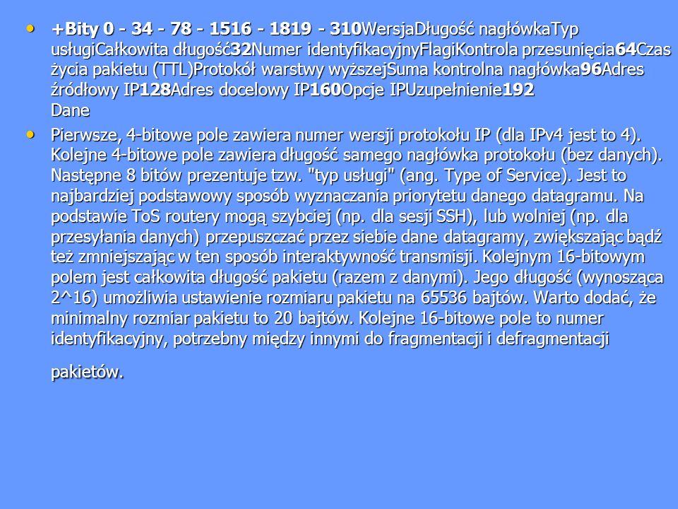 +Bity 0 - 34 - 78 - 1516 - 1819 - 310WersjaDługość nagłówkaTyp usługiCałkowita długość32Numer identyfikacyjnyFlagiKontrola przesunięcia64Czas życia pakietu (TTL)Protokół warstwy wyższejSuma kontrolna nagłówka96Adres źródłowy IP128Adres docelowy IP160Opcje IPUzupełnienie192 Dane
