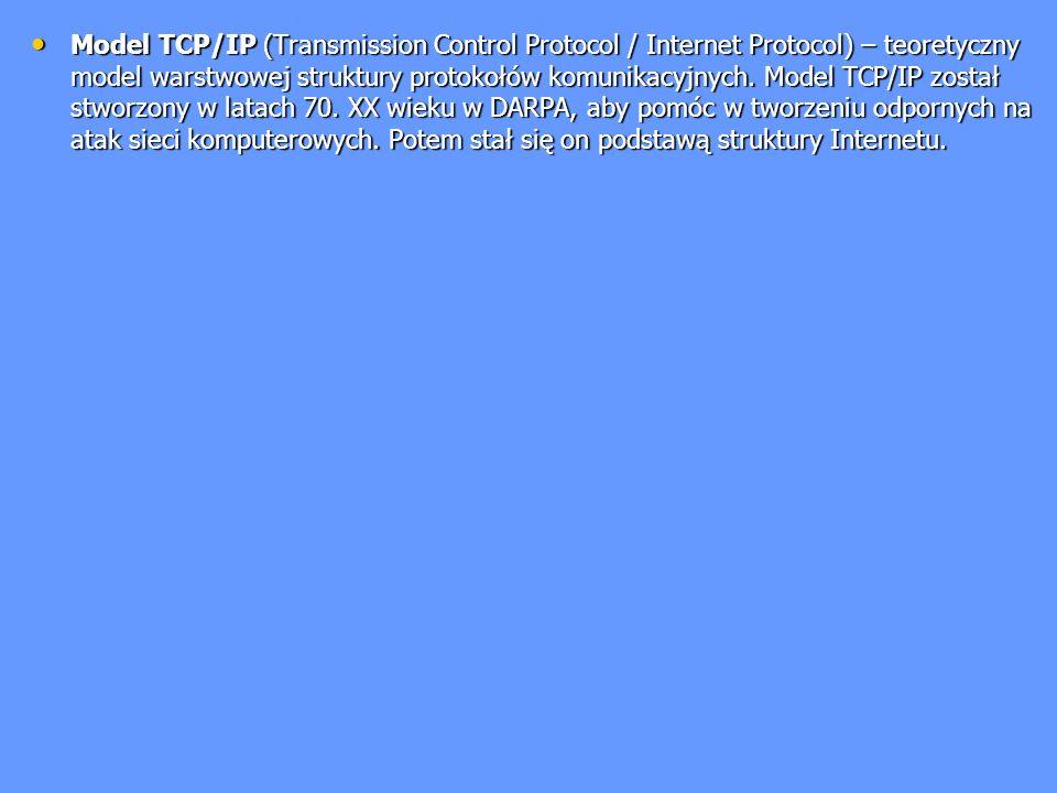 Model TCP/IP (Transmission Control Protocol / Internet Protocol) – teoretyczny model warstwowej struktury protokołów komunikacyjnych.