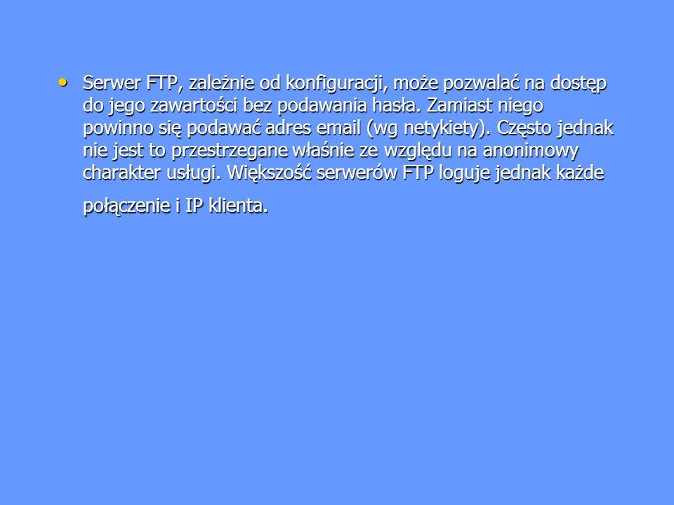 Serwer FTP, zależnie od konfiguracji, może pozwalać na dostęp do jego zawartości bez podawania hasła.