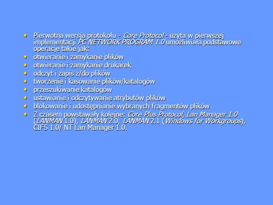 Pierwotna wersja protokołu - Core Protocol - użyta w pierwszej implementacji PC NETWORK PROGRAM 1.0 umożliwiała podstawowe operacje takie jak: