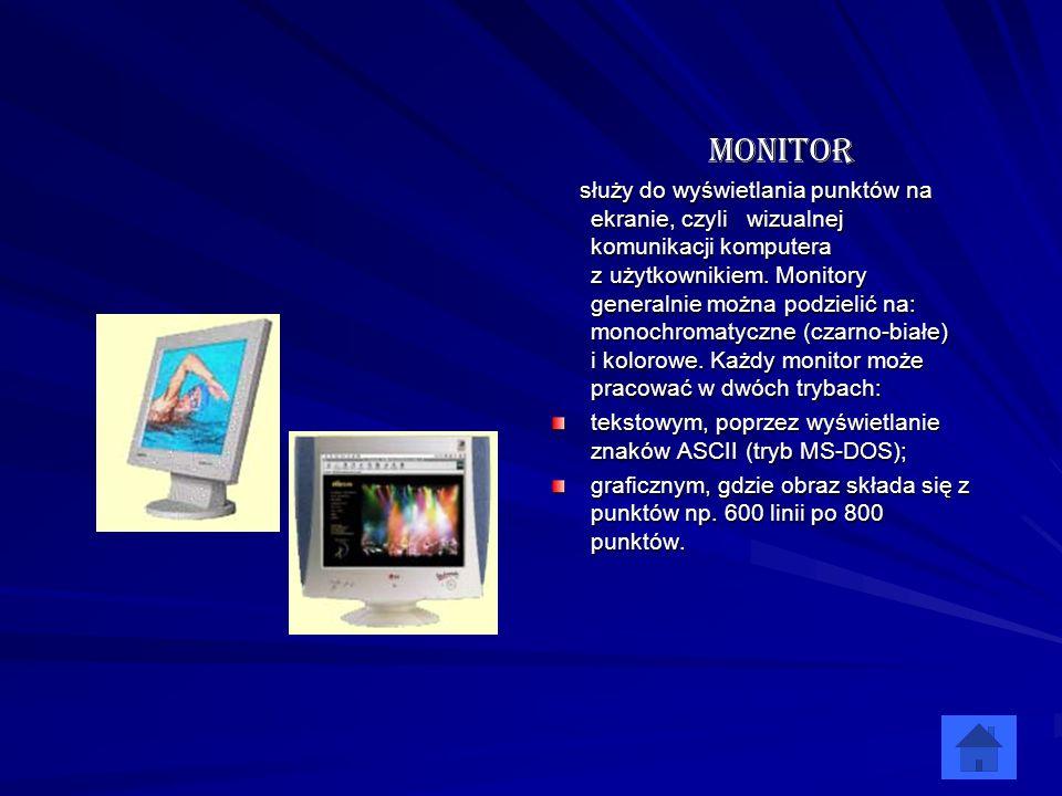 Monitor tekstowym, poprzez wyświetlanie znaków ASCII (tryb MS-DOS);