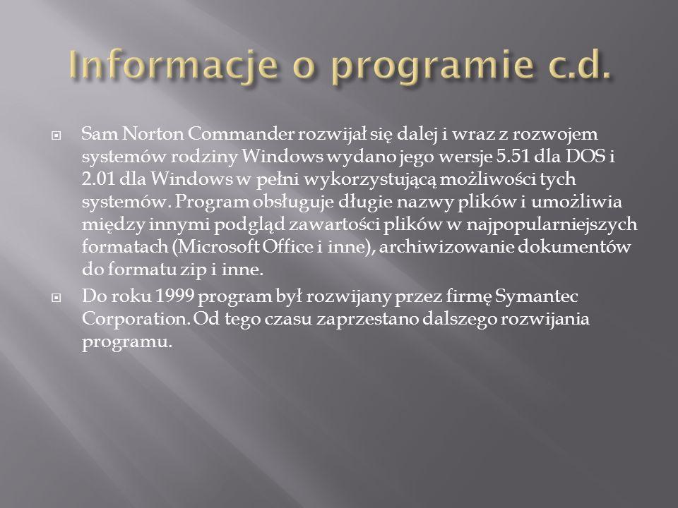 Informacje o programie c.d.