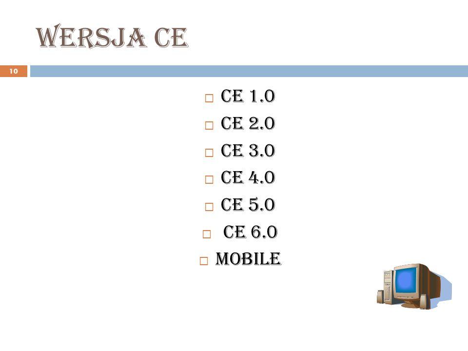 Wersja ce CE 1.0 CE 2.0 CE 3.0 CE 4.0 CE 5.0 CE 6.0 Mobile
