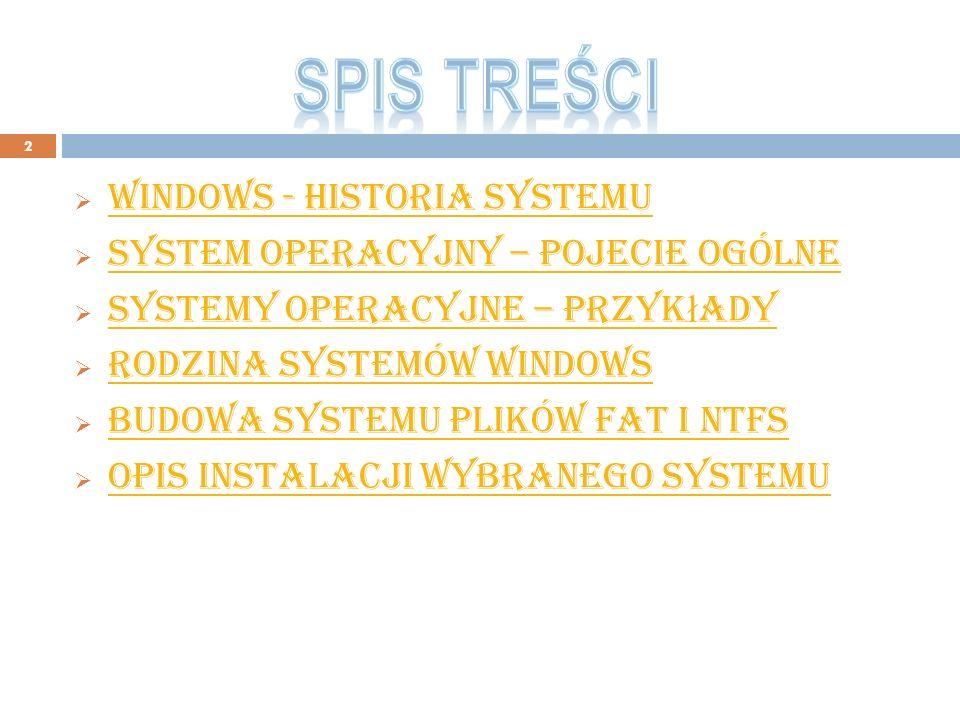 Spis treści windows - historia systemu