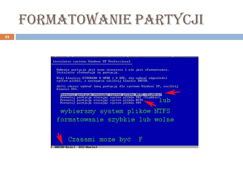 Formatowanie partycji