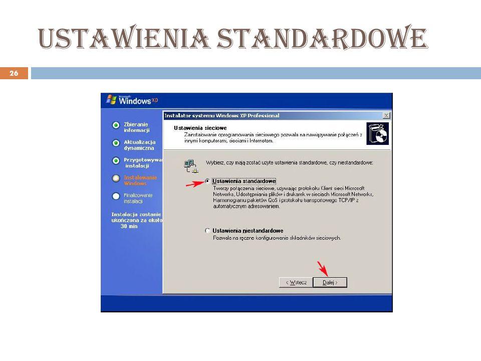 Ustawienia standardowe