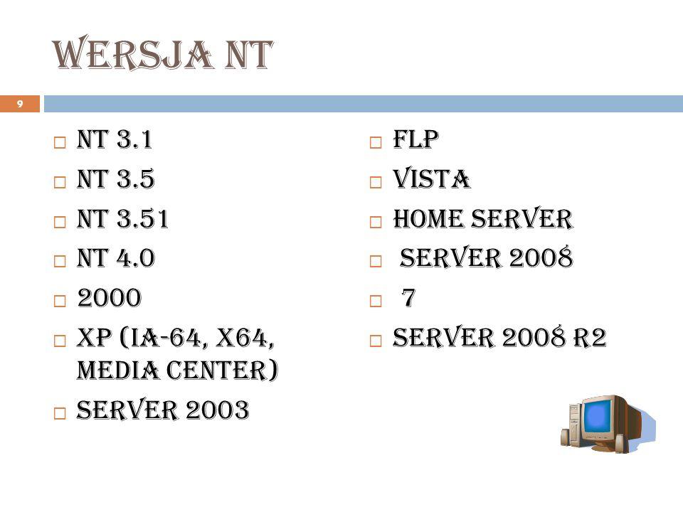 Wersja ntNT 3.1. NT 3.5. NT 3.51. NT 4.0. 2000. XP (IA-64, x64, Media Center) Server 2003. FLP. Vista.