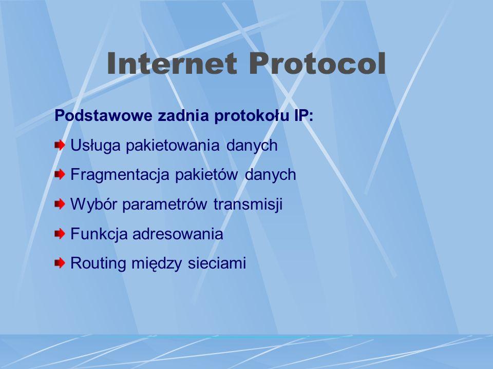 Internet Protocol Podstawowe zadnia protokołu IP: