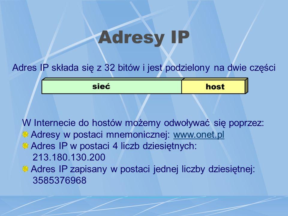 Adres IP składa się z 32 bitów i jest podzielony na dwie części