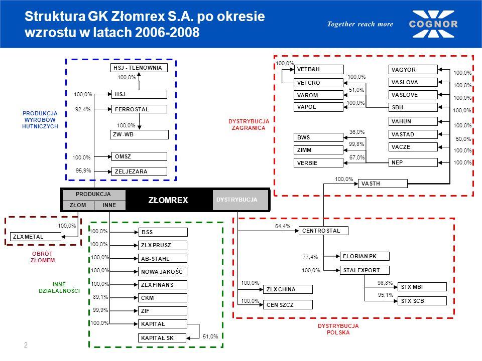 Struktura GK Złomrex S.A. po okresie wzrostu w latach 2006-2008