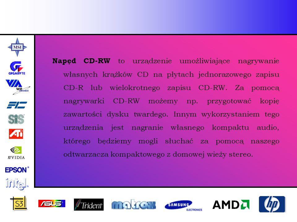 Napęd CD-RW to urządzenie umożliwiające nagrywanie własnych krążków CD na płytach jednorazowego zapisu CD-R lub wielokrotnego zapisu CD-RW.