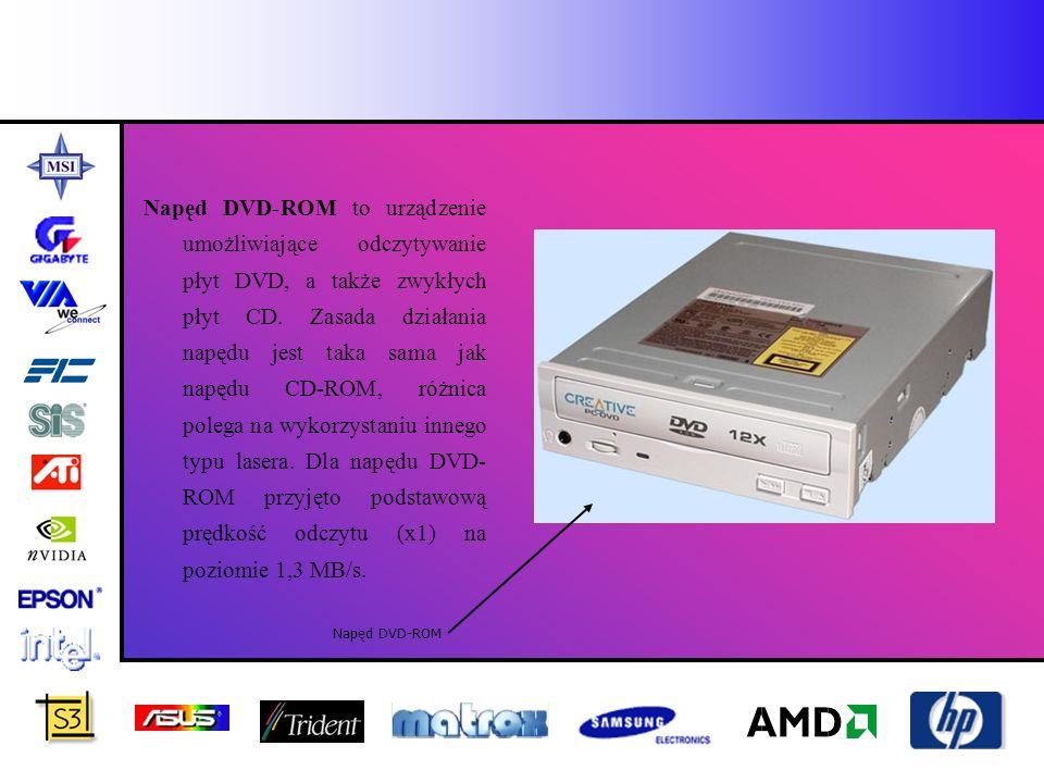 Napęd DVD-ROM to urządzenie umożliwiające odczytywanie płyt DVD, a także zwykłych płyt CD. Zasada działania napędu jest taka sama jak napędu CD-ROM, różnica polega na wykorzystaniu innego typu lasera. Dla napędu DVD-ROM przyjęto podstawową prędkość odczytu (x1) na poziomie 1,3 MB/s.