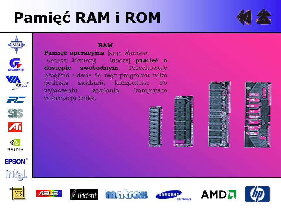 Pamięć RAM i ROM RAM Pamięć operacyjna (ang. Random