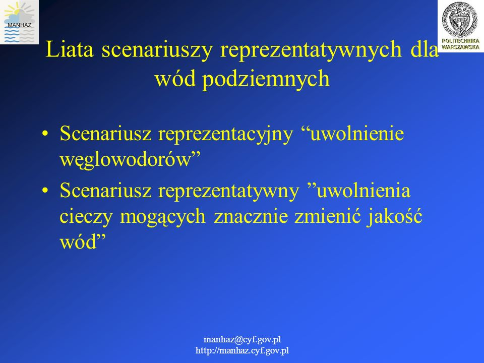 Liata scenariuszy reprezentatywnych dla wód podziemnych