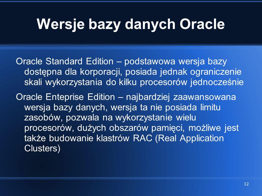 Wersje bazy danych Oracle