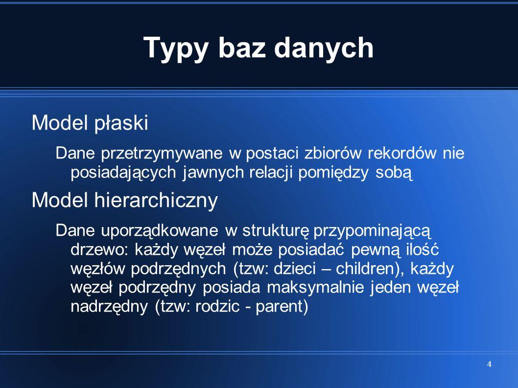 Typy baz danych Model płaski Model hierarchiczny