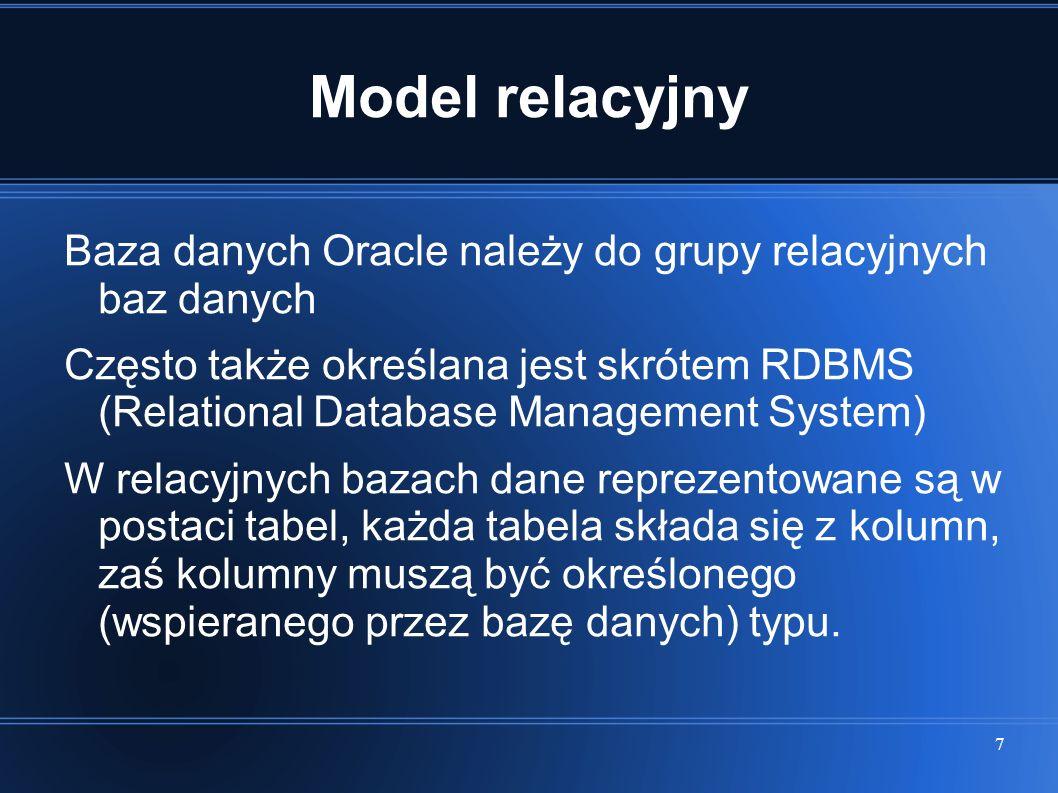 Model relacyjny Baza danych Oracle należy do grupy relacyjnych baz danych.