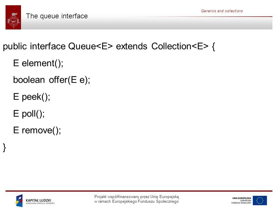 public interface Queue<E> extends Collection<E> {